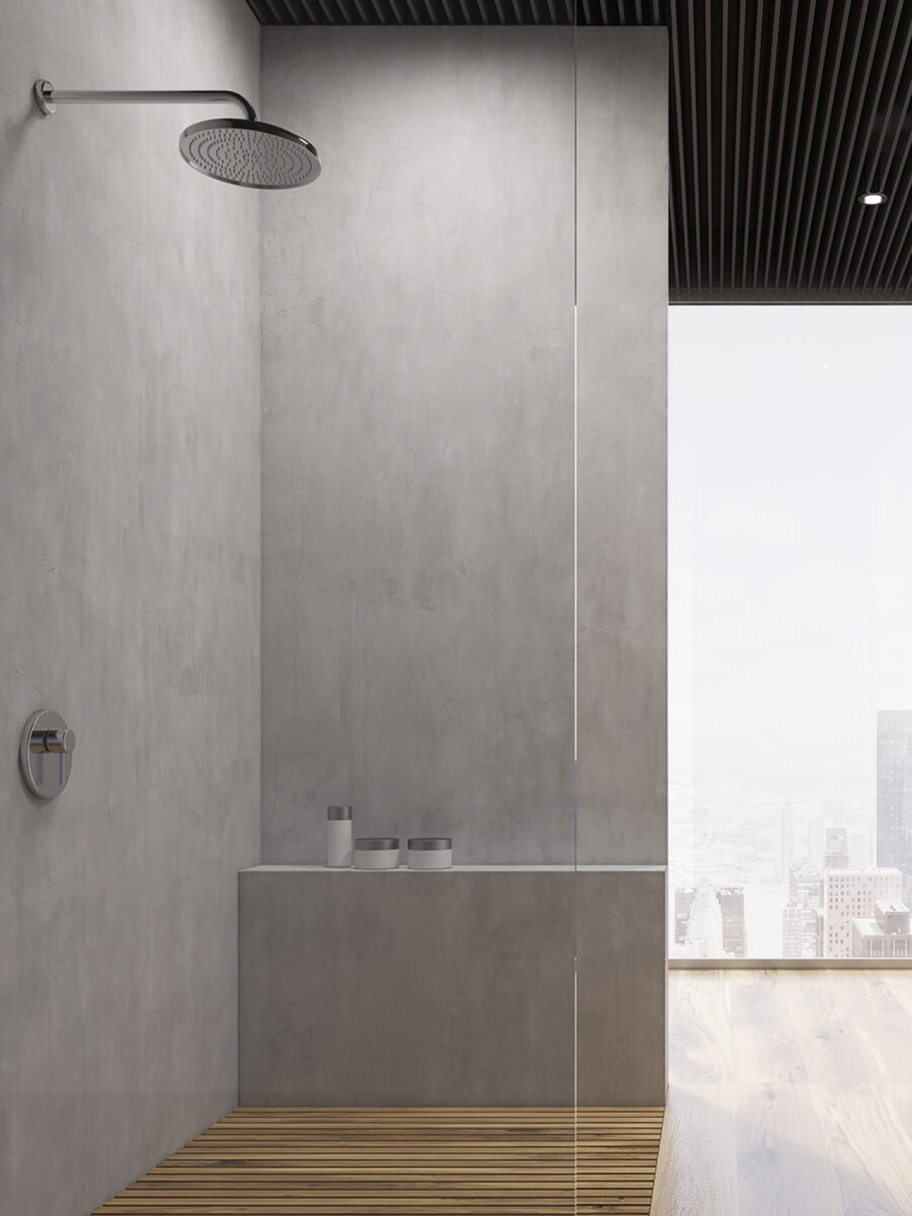 Innovative surface designs for showers in the latest urban concrete look