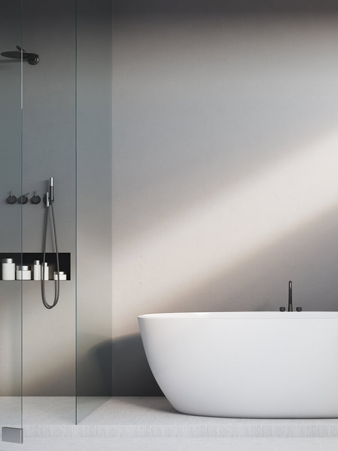 Concrete look wall solutions for wetrooms