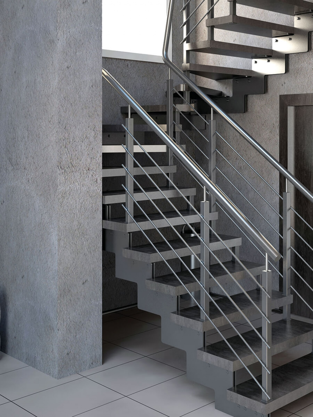 Urban concrete look for the stairwell