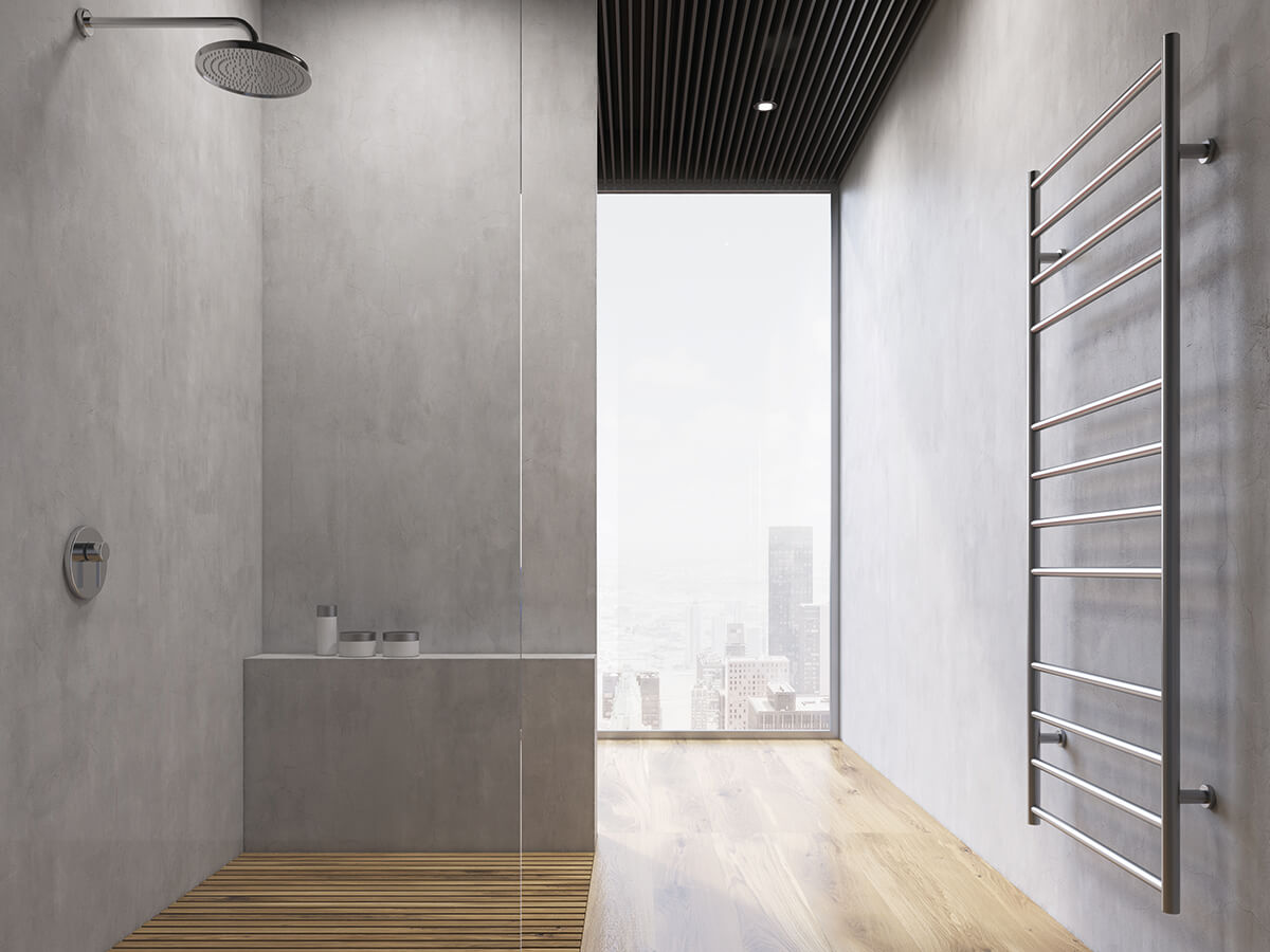 Innovative surface design in the fashionable concrete finish in the notoriously problematic shower area